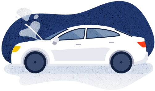Broken down car illustration
